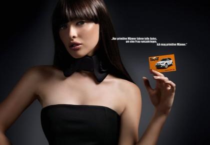 Primitiver Spruch mit Kreditkarte